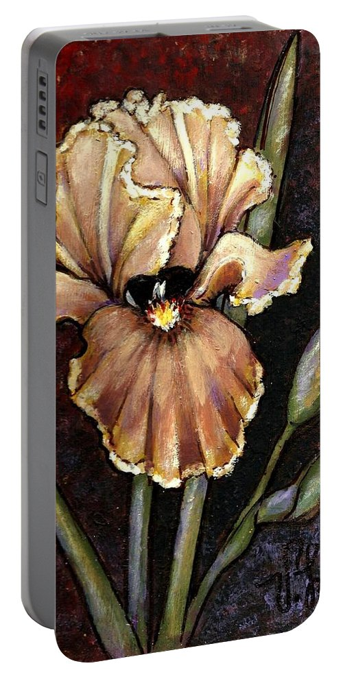 Iris Portable Battery Charger featuring the painting Vintage Iris by VLee Watson