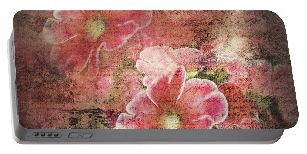 Flowers Portable Battery Charger featuring the digital art Vintage Love Letter by Georgiana Romanovna