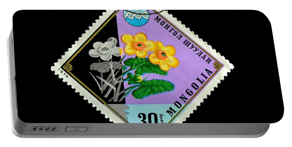 Stamp Portable Battery Charger featuring the photograph Medicinal Plants - Vintage Mongolia Stamp by Deena Stoddard