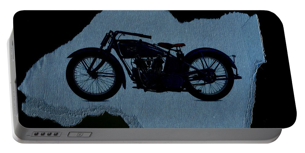 Motorcycle Portable Battery Charger featuring the digital art Vintage Motorcycle by David Ridley