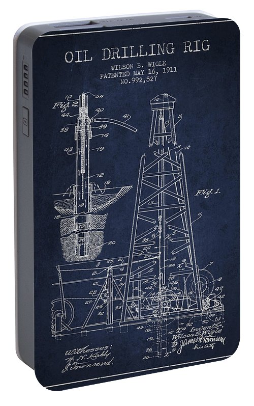Oil Portable Battery Charger featuring the digital art Vintage Oil Drilling Rig Patent From 1911 by Aged Pixel