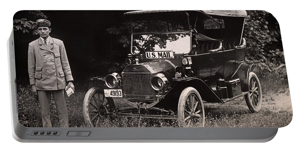 Mail Carrier Portable Battery Charger featuring the photograph Vintage Photo Of Rural Mail Carrier - 1914 by Mountain Dreams