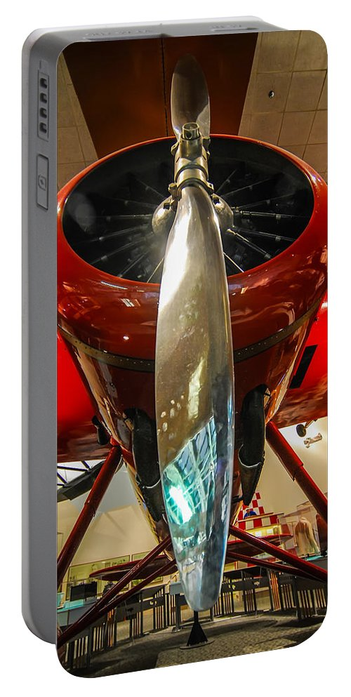 Aeronautical Portable Battery Charger featuring the photograph Vintage Propeller Airplane by Alex Grichenko