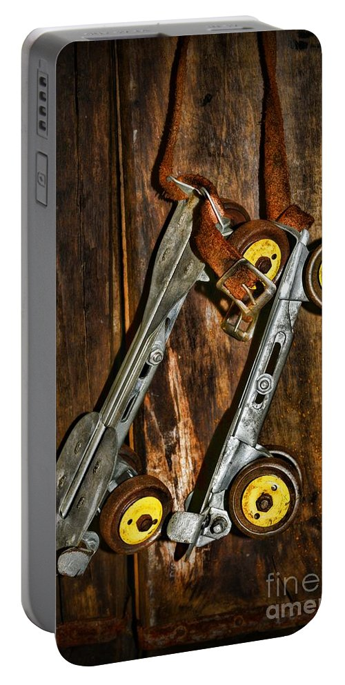 Paul Ward Portable Battery Charger featuring the photograph Vintage Roller Skates 5 by Paul Ward