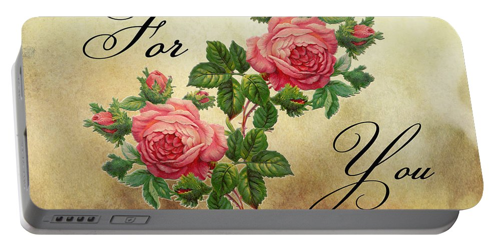 Vintage Portable Battery Charger featuring the photograph Vintage Roses For You by Nina Ficur Feenan