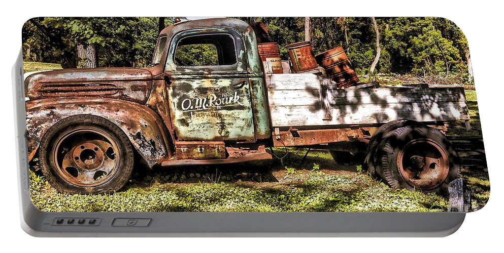 Vintage Old Truck Portable Battery Charger featuring the photograph Vintage Rusty Old Truck 1940 by Peggy Franz