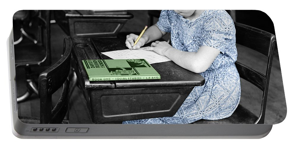 School Portable Battery Charger featuring the photograph Vintage Schoolgirl by Andrew Fare