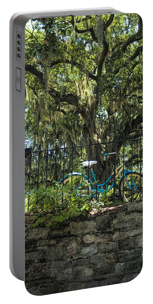 Schwinn Portable Battery Charger featuring the photograph Vintage Schwinn And Ancient Live Oak by Kathy Clark