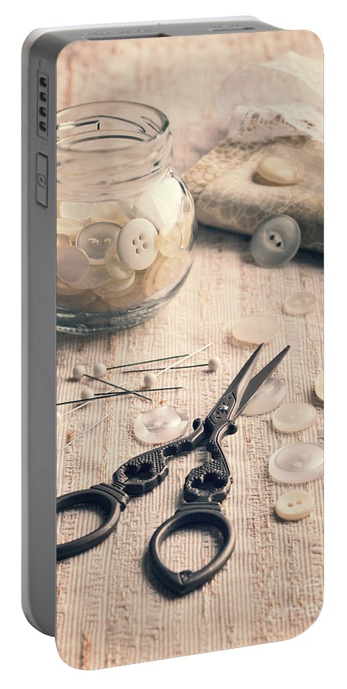 Sewing Portable Battery Charger featuring the photograph Vintage Sewing by Amanda Elwell