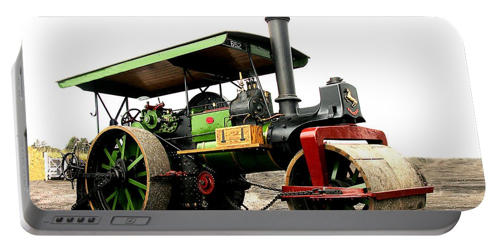 Steam Portable Battery Charger featuring the photograph Vintage Steam Roller by Tom Conway