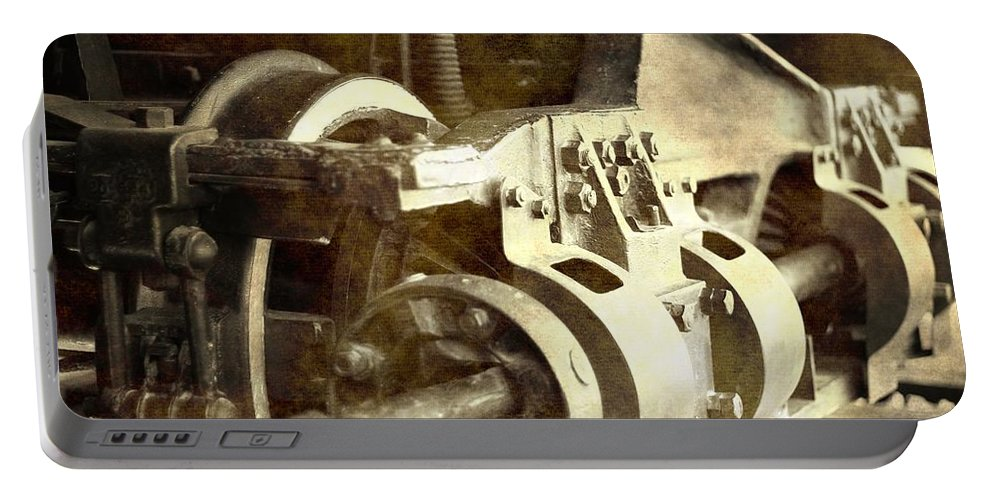 Vintage Train Wheel Portable Battery Charger featuring the photograph Vintage Train Wheel by Dan Sproul