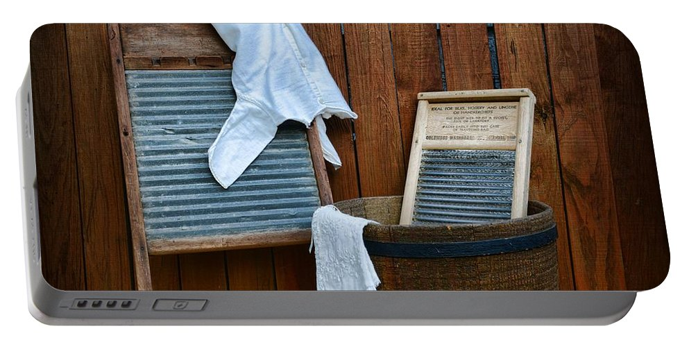 Paul Ward Portable Battery Charger featuring the photograph Vintage Washboard Laundry Day by Paul Ward