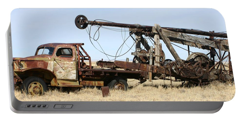 Thank You For Buying A 40.000 X 13.375 Print Of Vintage Water Well Drilling Truck To A Buyer From Ramah Portable Battery Charger featuring the photograph Vintage Water Well Drilling Truck by Jack Pumphrey