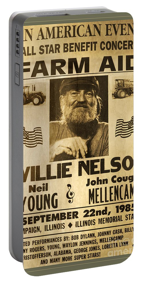 Willie Nelson Portable Battery Charger featuring the photograph Vintage Willie Nelson 1985 Farm Aid Poster by John Stephens
