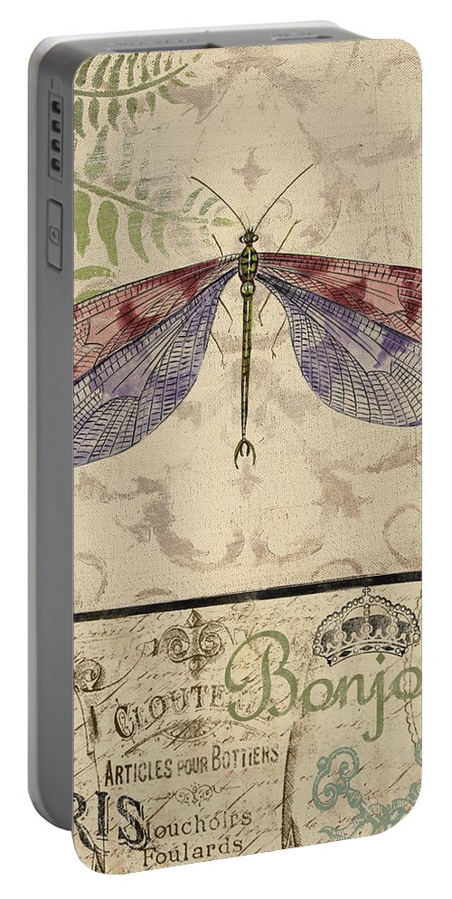 Digital Portable Battery Charger featuring the painting Vintage Wings-paris-f by Jean Plout
