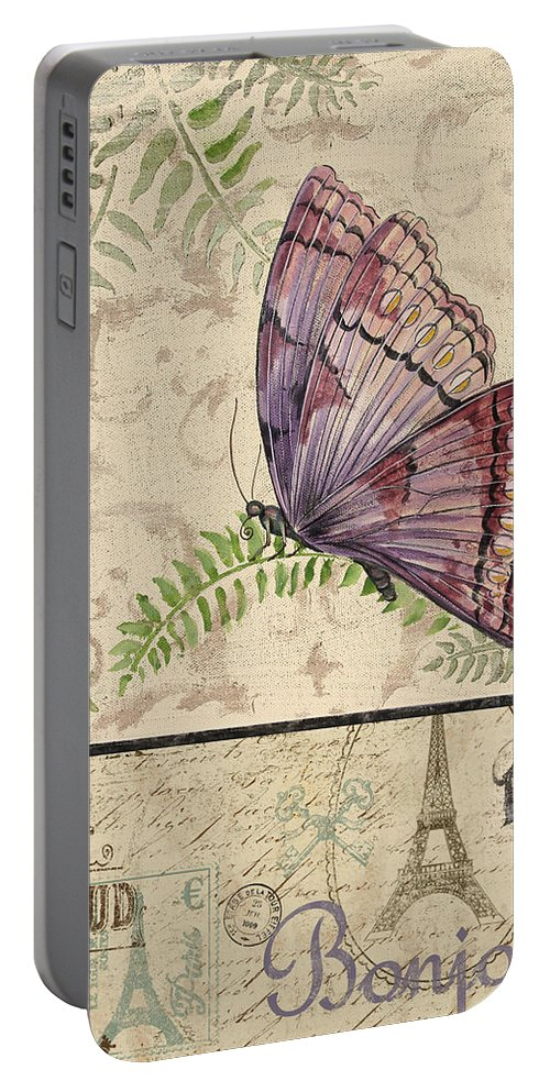 Digital Portable Battery Charger featuring the painting Vintage Wings-paris-i by Jean Plout
