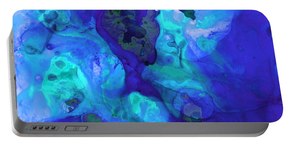Abstract Portable Battery Charger featuring the painting Violet Blue - Abstract Art By Sharon Cummings by Sharon Cummings