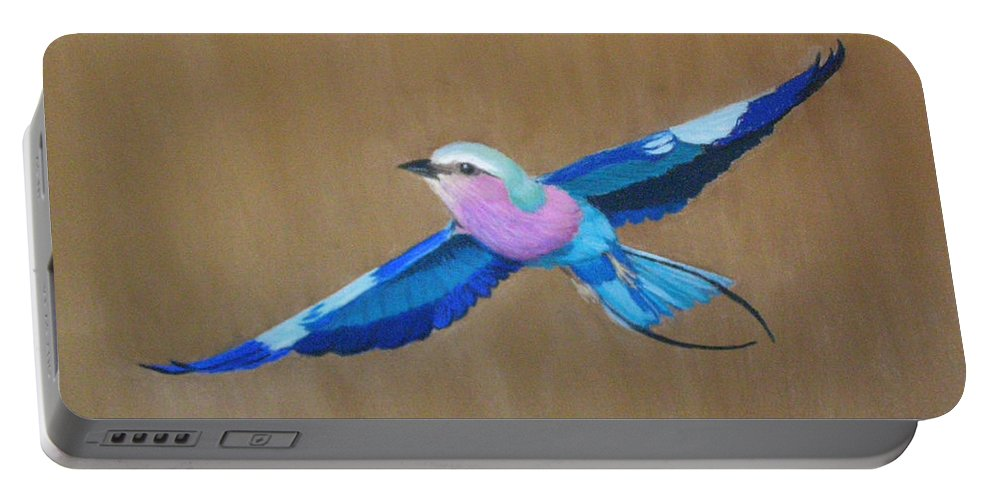 Colorful Bird Portable Battery Charger featuring the painting Violet-breasted Roller Bird II by Lynn Quinn