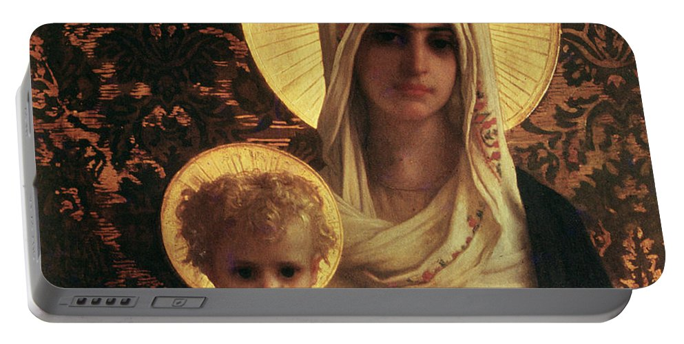 Herbert Portable Battery Charger featuring the painting Virgin And Child by Antoine Auguste Ernest Herbert