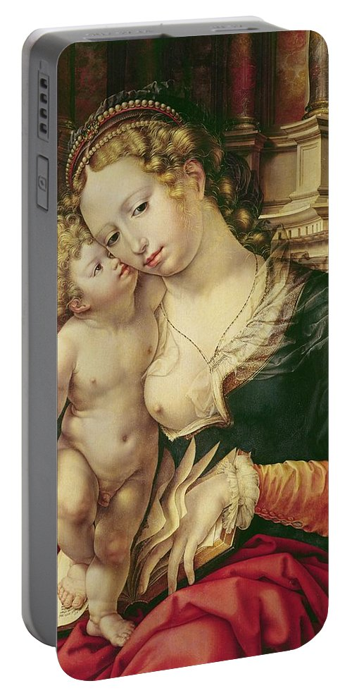 Virgin And Child Portable Battery Charger featuring the painting Virgin And Child by Jan Gossaert