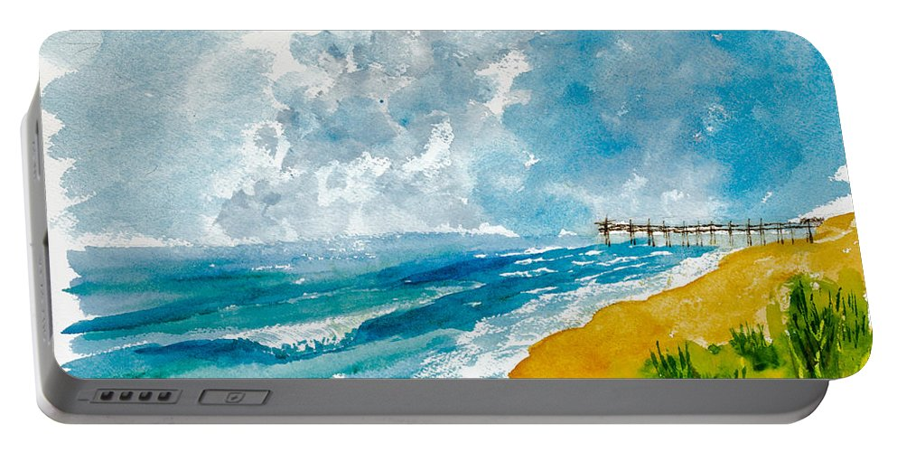 Nature Portable Battery Charger featuring the painting Virginia Beach With Pier by Walt Brodis
