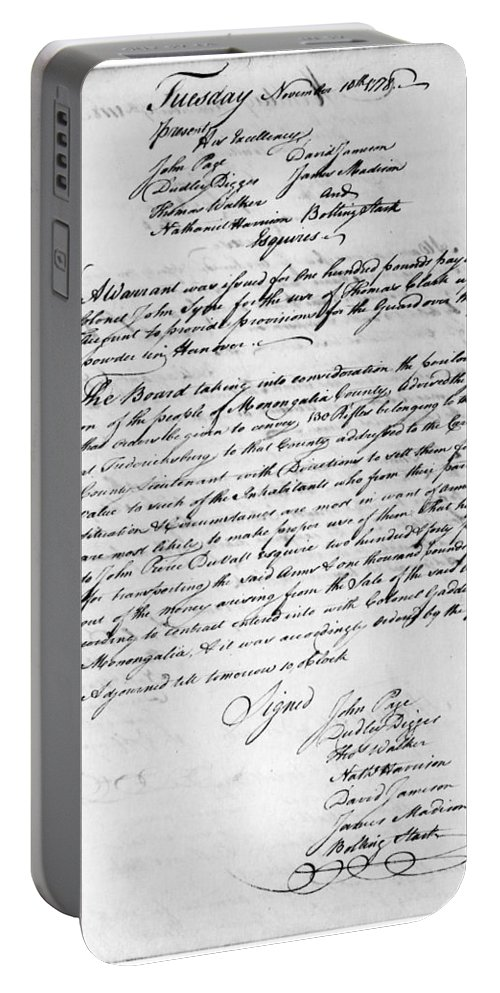 1778 Portable Battery Charger featuring the photograph Virginia Council, 1778 by Granger
