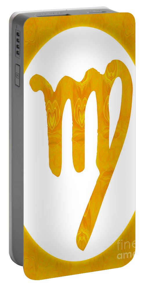 Virgo And Solar Chakra Portable Battery Charger featuring the digital art Virgo And Solar Chakra Abstract Spiritual Artwork By Omaste Witk by Omaste Witkowski