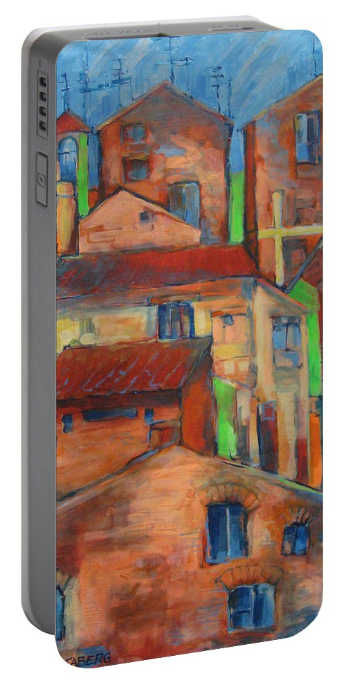 Italy Portable Battery Charger featuring the painting Vitorchiano Astrato by Jeff Seaberg