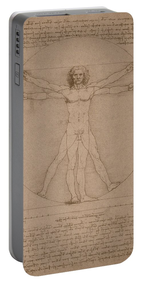 Leonardo Da Vinci Portable Battery Charger featuring the mixed media Vitruvian Man by War Is Hell Store