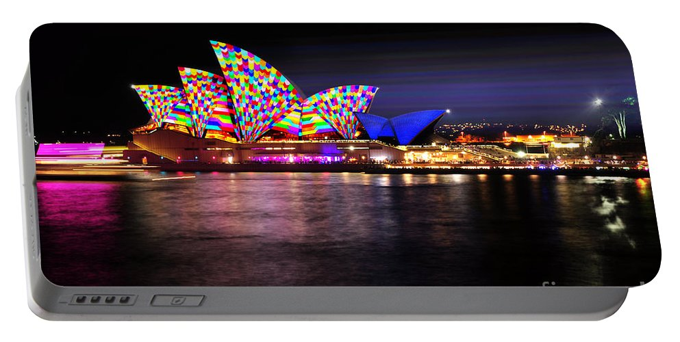 Photography Portable Battery Charger featuring the photograph Vivid Sydney 2014 - Opera House 5 By Kaye Menner by Kaye Menner