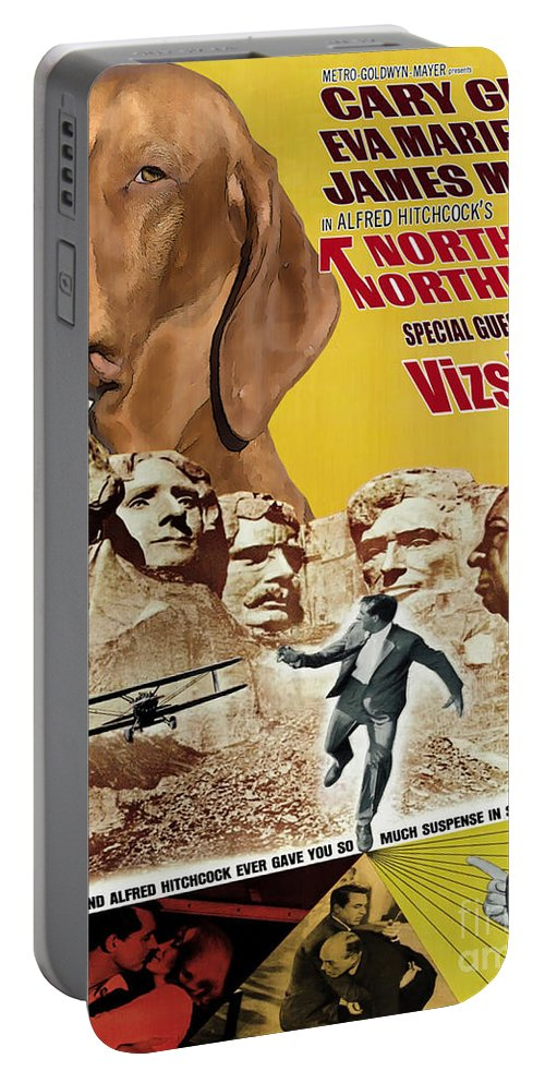 Vizsla Portable Battery Charger featuring the painting Vizsla Art Canvas Print - North By Northwest Movie Poster by Sandra Sij