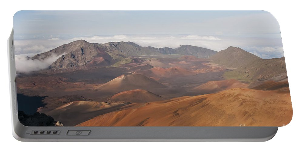 Volcanic Cone Crater Cone Craters Volcano Volcanos Haleakala National Park Volcano Area Maui Hawaii Landscape Landscapes Parks Mountain Mountains Shadow Shadows Landmark Landmarks Portable Battery Charger featuring the photograph Volcanic Valley Of Cones by Bob Phillips
