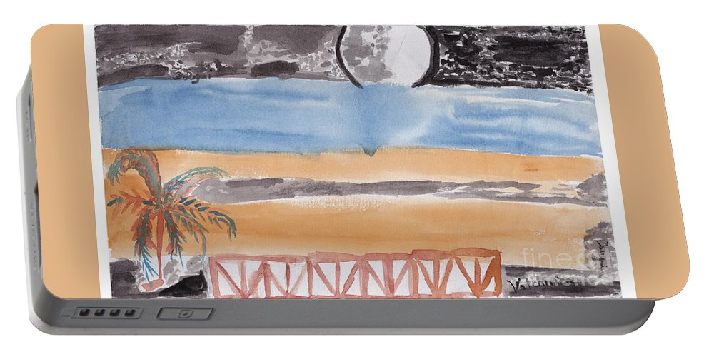 A Terrace That Looks Out Onto A Moonlit Night. Portable Battery Charger featuring the painting Volcanica by Douglas Friedman