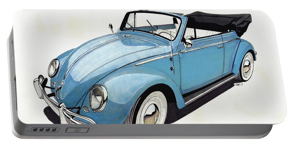 Vw Portable Battery Charger featuring the drawing Volkswagen Beetle by Paul Kuras