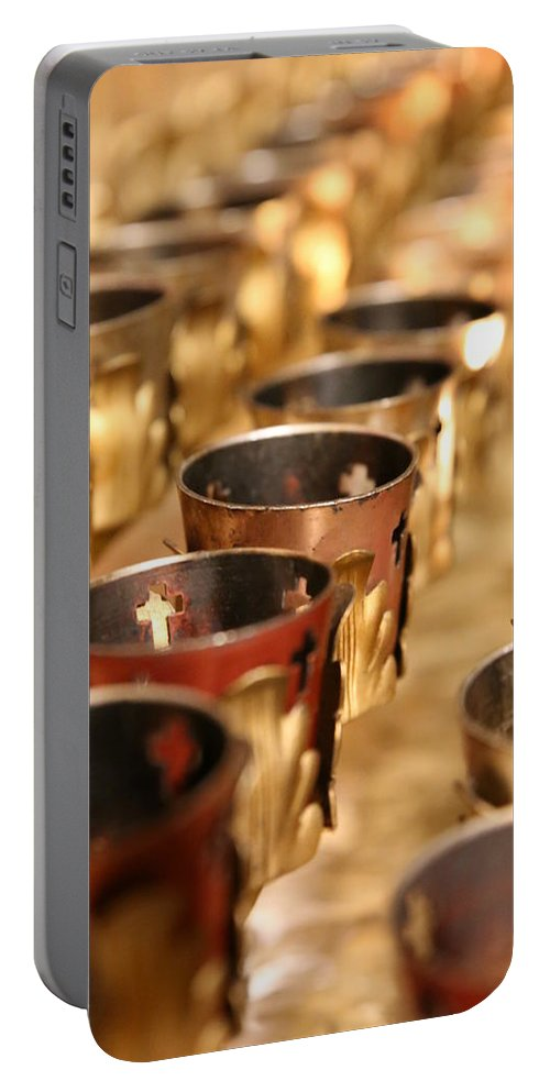 Votive Candles Portable Battery Charger featuring the photograph Votive Candles by Lynn Sprowl