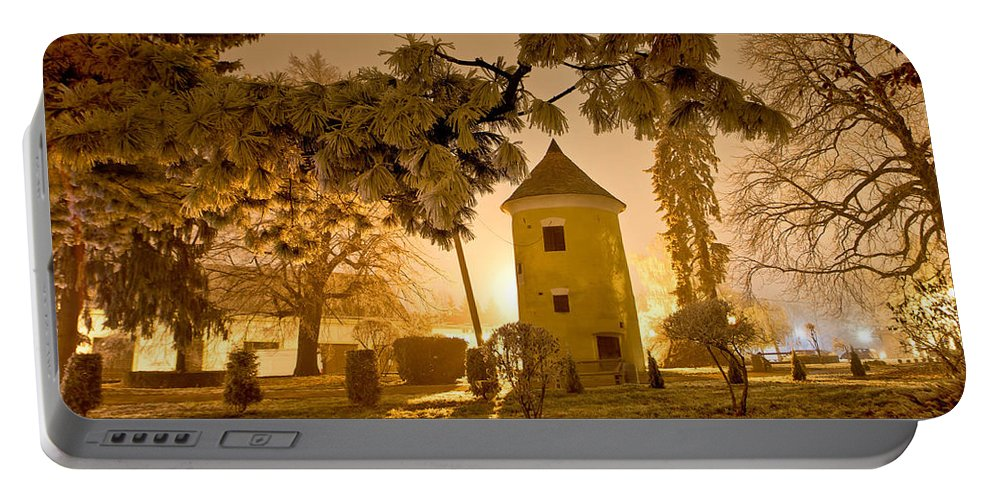 Croatia Portable Battery Charger featuring the photograph Vrbovec Winter Night Scene In Park by Brch Photography