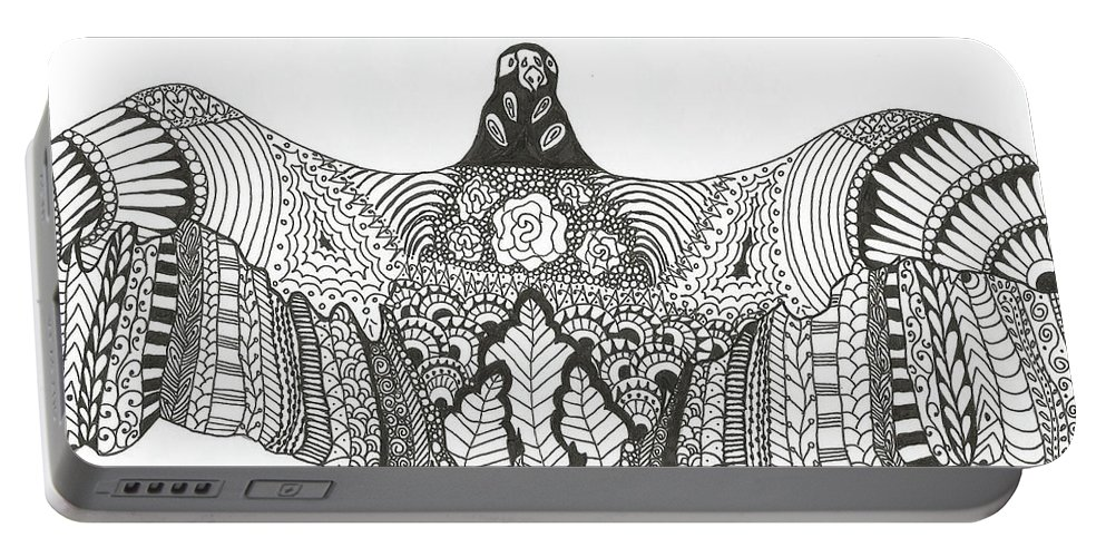 Vulture Portable Battery Charger featuring the drawing Vulture Wild Ink by Jamie Ramirez