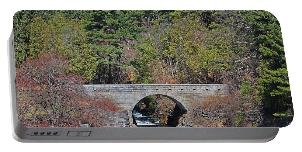 Wachusett Reservoir Portable Battery Charger featuring the photograph Wachusett Reservoir Spillway 6 by Michael Saunders