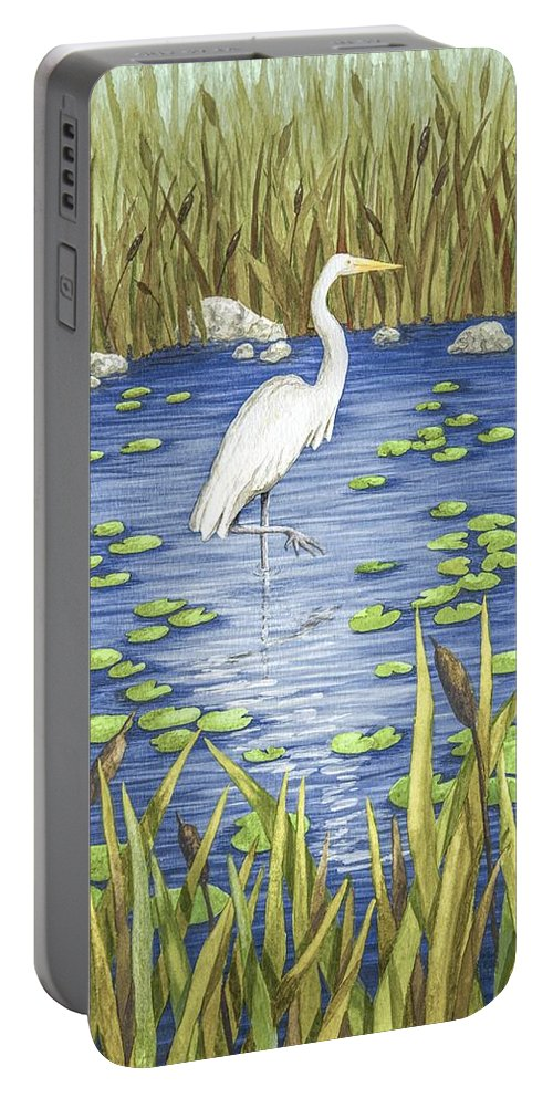 Print Portable Battery Charger featuring the painting Wading And Watching by Katherine Young-Beck
