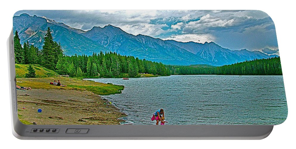 Wading In Johnson Lake In Banff National Park Portable Battery Charger featuring the photograph Wading In Johnson Lake In Banff Np-alberta by Ruth Hager