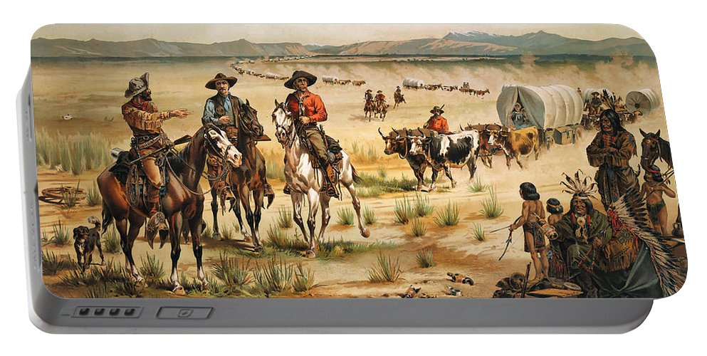 Wagon Train Portable Battery Charger featuring the digital art Wagon Train by Unknown