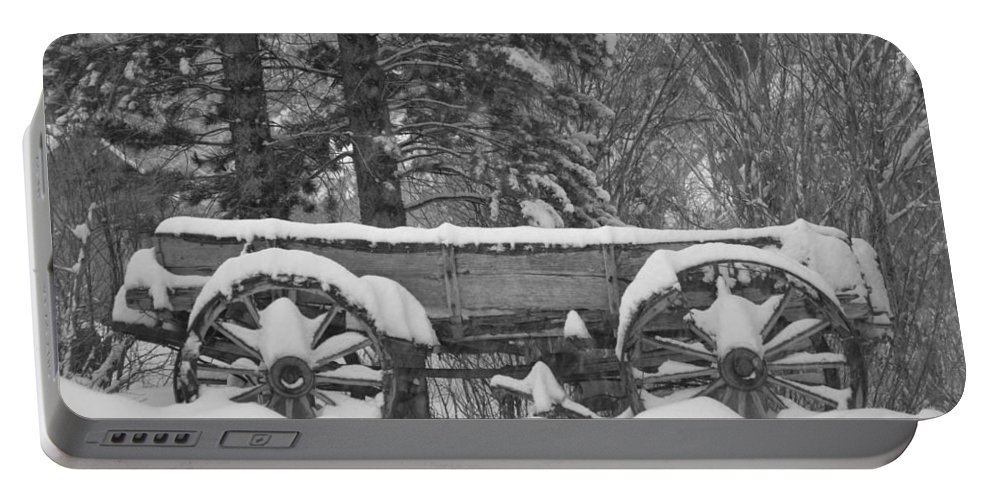Wagon Wheels Portable Battery Charger featuring the photograph Wagon Wheels June Lake by Christine Owens