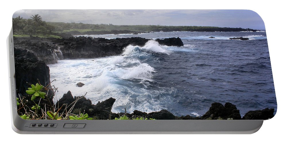 Aloha Portable Battery Charger featuring the photograph Waianapanapa Pailoa Bay Hana Maui Hawaii by Sharon Mau