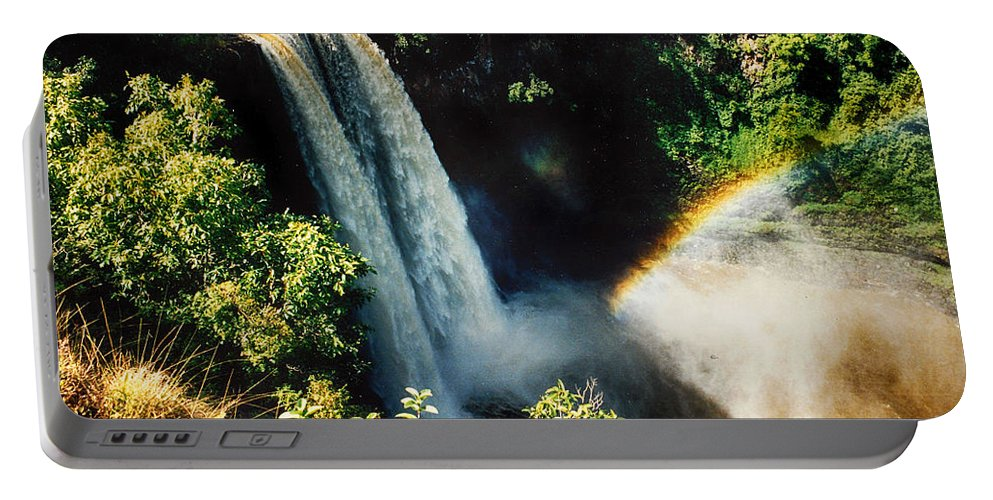 Kauai Portable Battery Charger featuring the photograph Wailua Falls Kauai Hi 1 by Tommy Anderson
