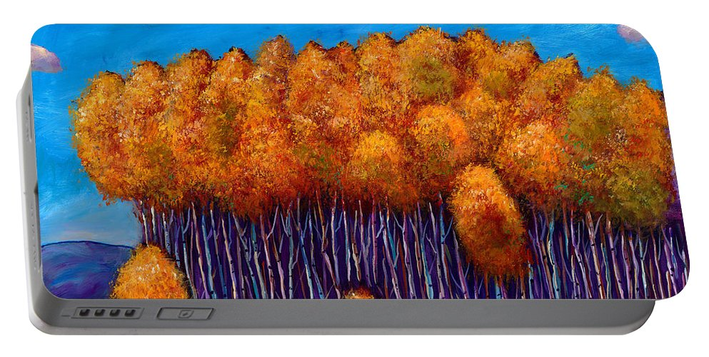 Autumn Aspen Portable Battery Charger featuring the painting Wait and See by Johnathan Harris