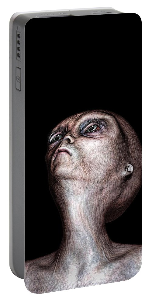 Alien Abduction Portable Battery Charger featuring the digital art Waiting by Bob Orsillo