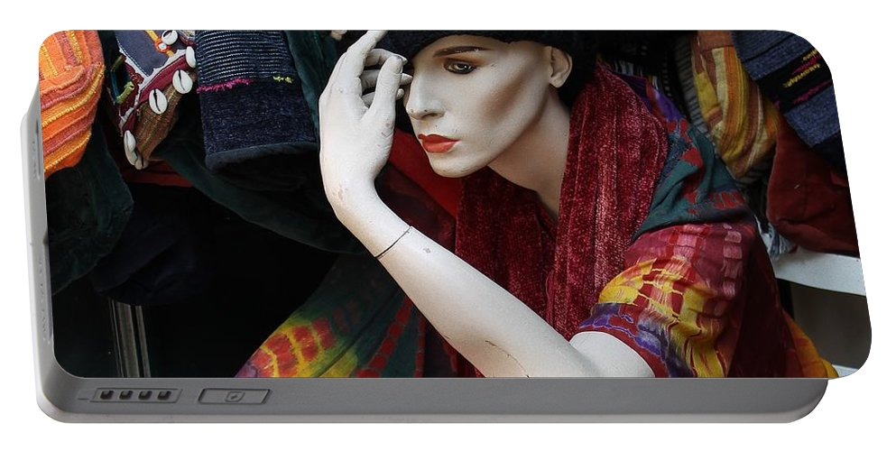 Photograph Woman Girl Model Color Colorful Sitting Store Window Mannequin Expressionism Impressionism Portrait Face Erotic Lips Red Portable Battery Charger featuring the photograph Waiting For Mr.right by Steve K
