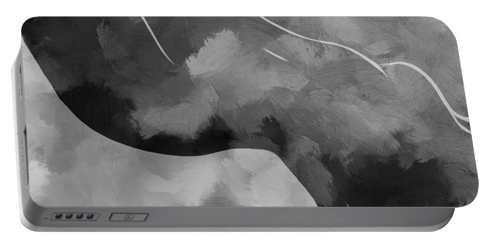 Female Curve Curves Bodyscape Sex Erotic Shape Woman Girl Sensual Expressionism Black White Portable Battery Charger featuring the painting Waiting For The Storm by Steve K