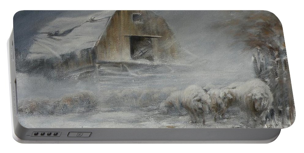 Sheep Portable Battery Charger featuring the painting Waiting Out The Storm by Mia DeLode