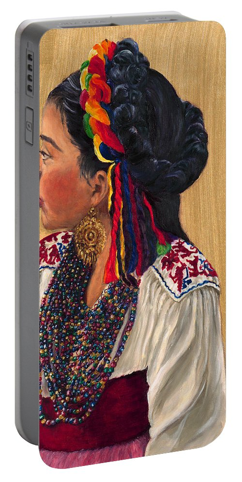 Young Girl Portable Battery Charger featuring the painting Waiting To Dance by Maria Gibbs